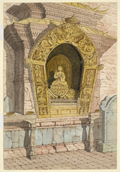 Shrine of the 1st Celestial Buddha. Vairochana on the East side of the base of the Temple of Adi Buddha, Sambhunath. April 1854